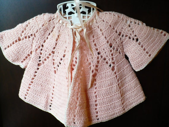 Adorable Vintage Sacque Set a Crocheted Baby Sweater and Bonnet