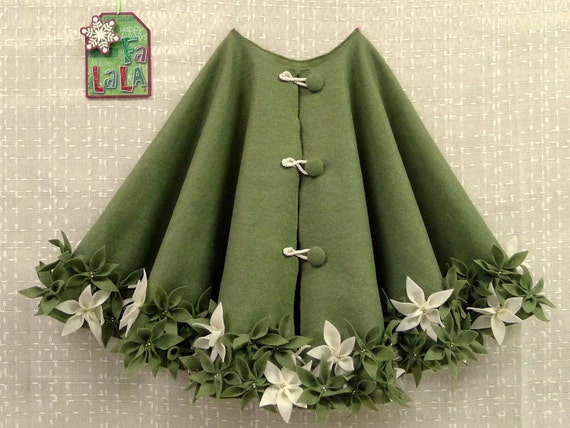 54 Christmas Tree Skirt In Olive Green Felt With By