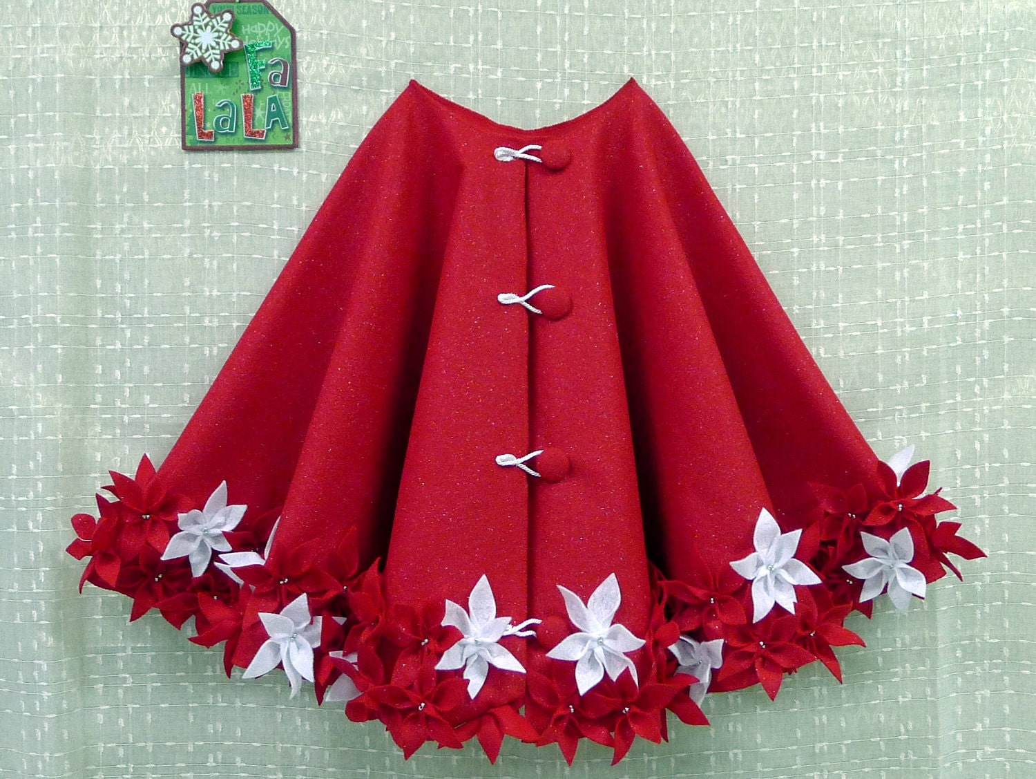 50 Christmas Tree Skirt In Glitter Red With Glitter Red