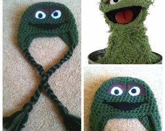 Crochet Oscar The Grouch Beanie/Hat