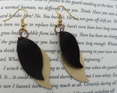 Chocolate Brown and Lemon-drop Yellow Leather Leaf Earrings with Gold covered Hooks