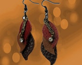 Chestnut Red, Mocha & Chocolate Brown Leather Leaf Earring with Faux Diamond Pendant