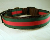 Designer Dog Collar Gucci Inspired Red and Green Small Medium Large Extra Large XXL Stripe