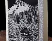 Photo Greeting Card with Colorado Mountain Black and White