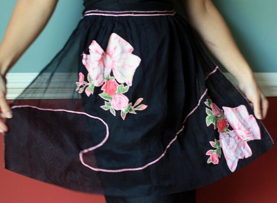 1950s Handmade Black Half Apron with Pink Bows & Roses Appliques