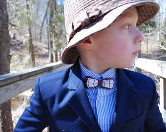 Clip on Cutie 1950s Vintage Childrens Boys Clip On Bow Tie In Purple White And Pink Stripes