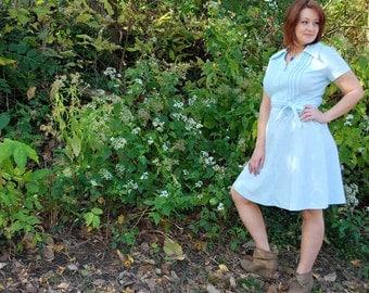Fly Me High 1970s Vintage Bleeker Street Short Sleeve Light Sky Blue Day Dress With Union Tags Sz Medium / Large