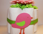 Bird Baby Shower Diaper Cakes Centerpieces or Baby Girl Girfts- Set of 3