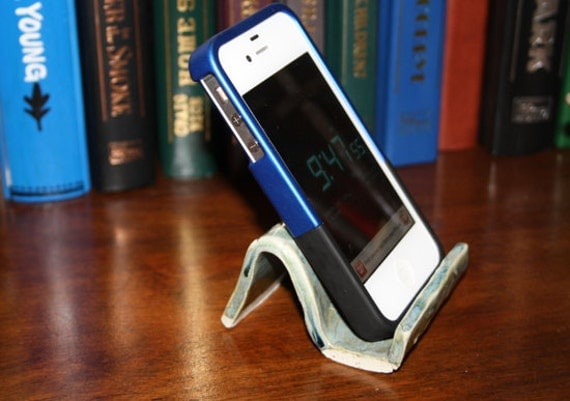 Handmade iPhone display stand dock and card holder pottery blue green waves