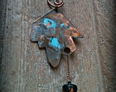 copper patina arrow necklace