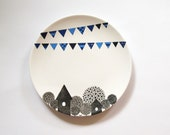 Blue village wall plate - Small Size