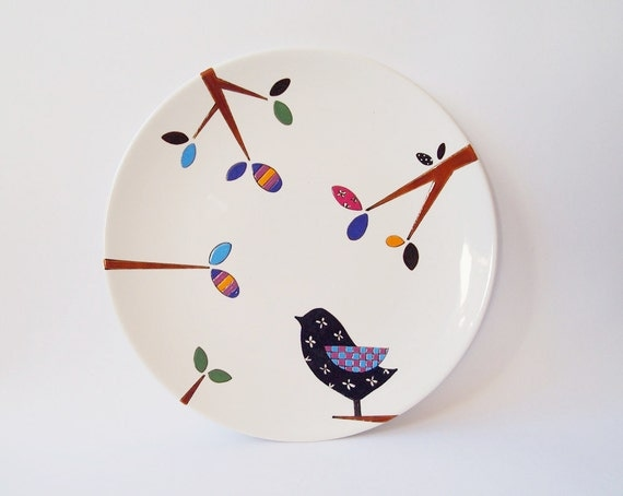 Items similar to bird wall plate small size on etsy - Wandteller modern ...