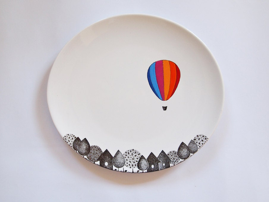 Striped balloon porcelain plate by zuppaatelier on etsy for Where to buy ceramic plates to paint