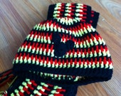 Handmade Red Yellow and Black Crochet Hat and Scarf Set Made to Order