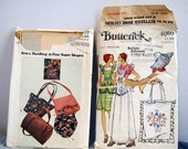 Vintage craft sewing patterns for aprons, tote bags, purses and hat, 1980s, Butterick 4520 and 4090