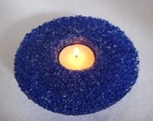 Custom for BE -Two Cobalt Blue Fused Glass Candle Holders with White Ice on Top
