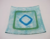 Blue and Green Squared Small Fused Glass Plate