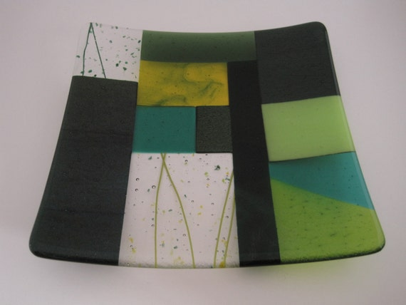 Fused Glass Plate - A Lot of Greens Quilt