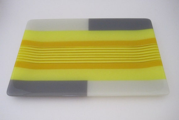 Yellow Striped Fused Glass Plate