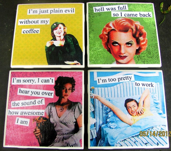 Ceramic Coasters-Sassy Retro Ladies
