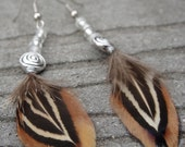 Brown natural feather and beaded earrings