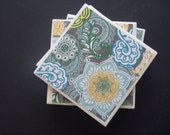 Floral Yellow and Gray Coasters- Free Shipping