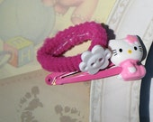 Hello Kitty barette and hair tie for little girls