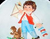 """Vintage 80's  COBBLESTONE KiDS WALL Plate """"Testing the Wind""""  by Debbie Bell Jarratt"""