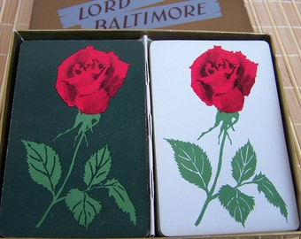 Vintage Playing Cards Single Rose Design by Lord Baltimore