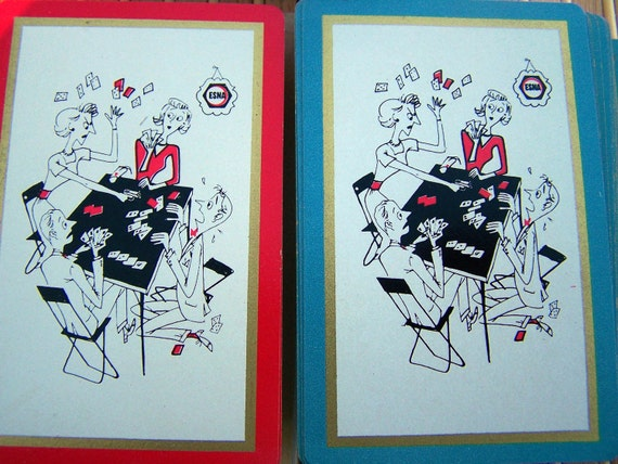 Vintage Canasta Set of Playing Cards in a Comical Scene by Elastic Stop Nut Corporation of America