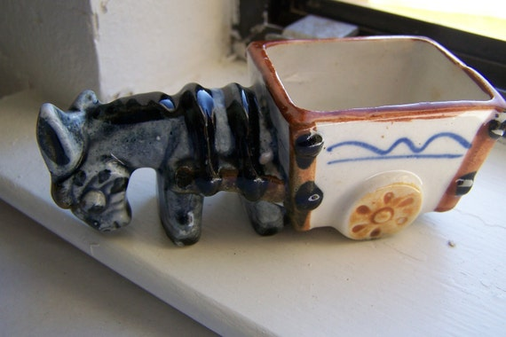 Vintage Ceramic Small Donkey /Burro with Cart Planter Made in Occupied Japan