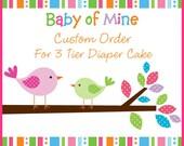 Custom Order 3 Tier Diaper Cake For For Samantha