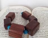 Wood block bracelet - one of a kind - teak wood vintage blue bead