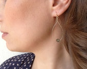 Deep Forest Earrings - green vein charm - delicate gold hoop dangle - modern and simple