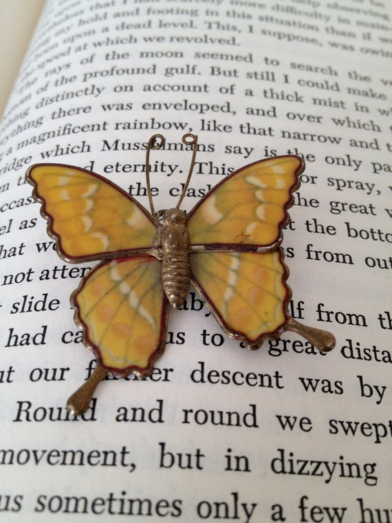 Butterfly brooch pin - yellow brown brass and white - delicate vintage