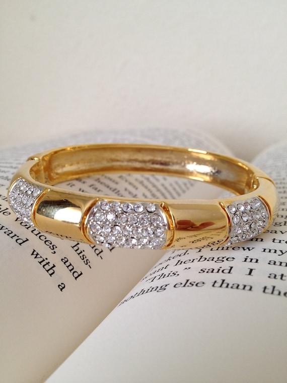 Gold and rhinestone crystal vintage bangle clasp bracelet