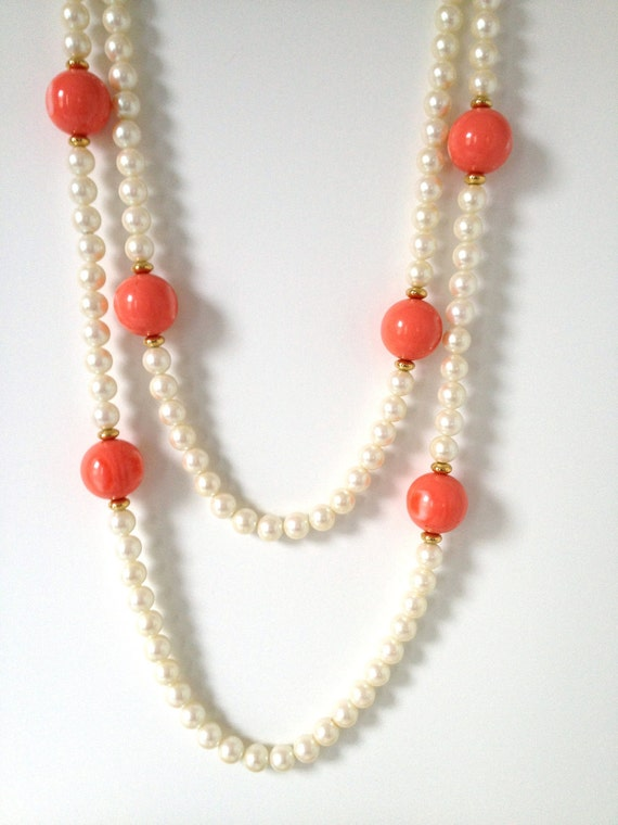 Pearl and Orange dramatic cocktail necklace - oversized show stopper