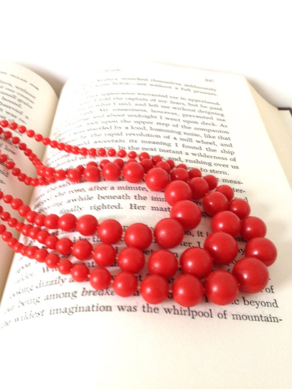 Retro Red and Ravishing - vintage bright red bead multi strand necklace