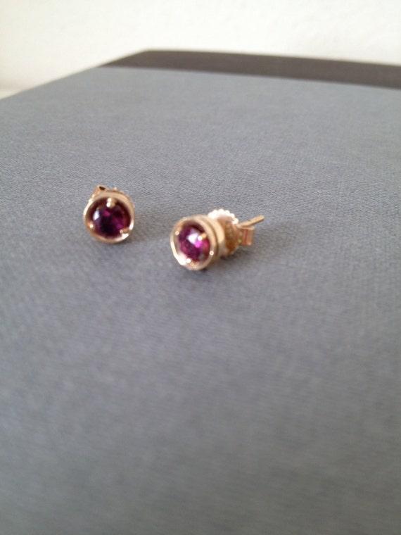 Genuine ruby vintage earrings in 14k gold post