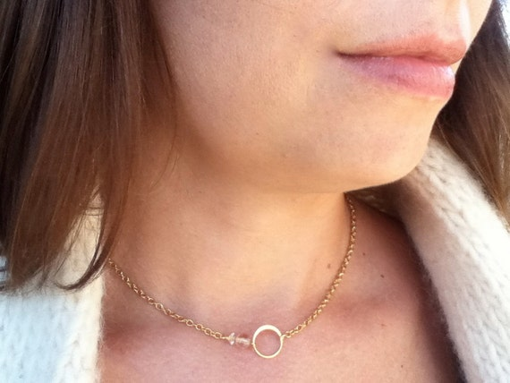Eternal Love Circles 14k gold circle necklace - vintage bead gold charm - gift for her, friend, wife, mother