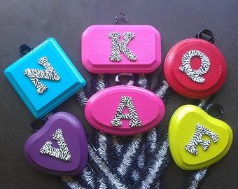Zebra Print Custom Monogrammed Hair bow & barrette holder