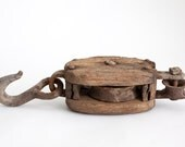 Vintage Wooden Pulley Rustic Farmhouse Decor