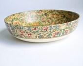 Decorative Bowl, Paper Mache, Floral Motif, Vintage