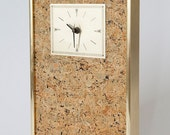 Mid Century Wall Clock with Gold Frame and Cork Design Battery Operated