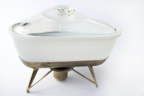 Mid Century Triangle Shaped Casserole Dish w/warming stand