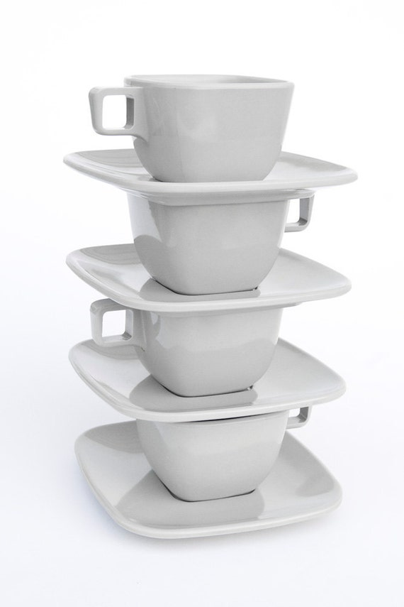1950's Gray Arrowhead Melmac Cups & Saucers (4 of each)