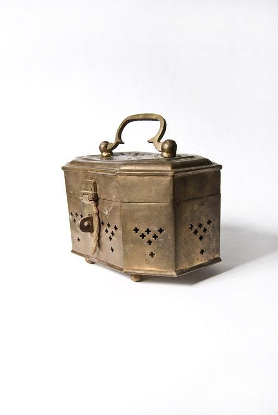 Brass Jewelry Box, Chest with Handle, Vintage Storage