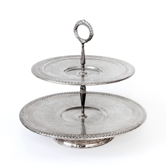 Silver Plated Two Tier Serving Dish Appetizer Dish Entertaining Desserts