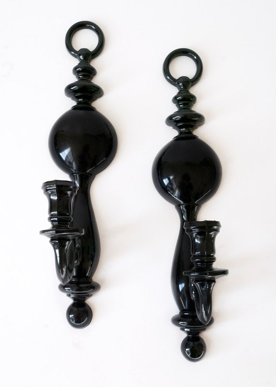 Sconces Black Lucite Syroco USA Candle Holder Wall Sconce Pair Elegant Curvy 70s