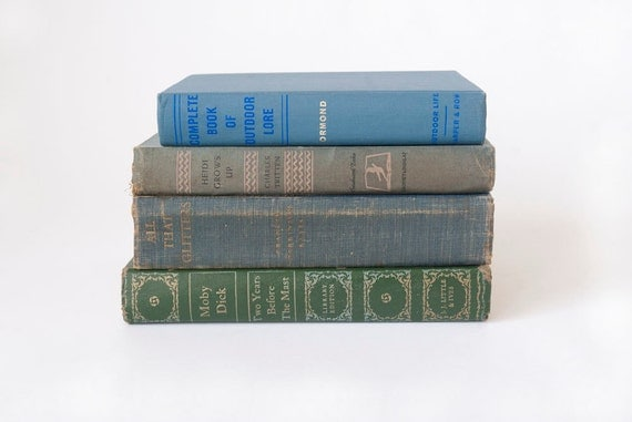 Vintage Books Set of 4, Moby Dick, Heidi Grows Up, All That Glitters, Outdoor Lore Props Home Decor
